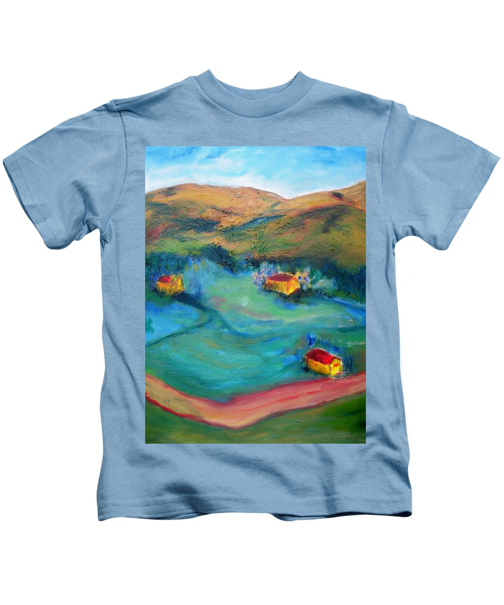 Landscape Kids T-Shirt featuring the painting Beit Shemesh by Suzanne Udell Levinger