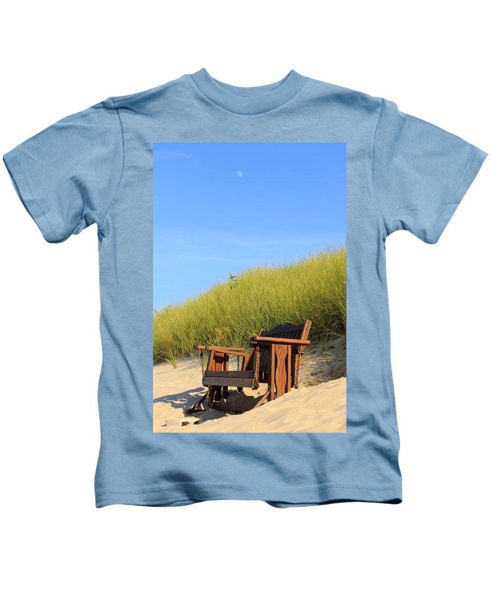 Above Kids T-Shirt featuring the photograph Bench At The Beach by Travis Rogers
