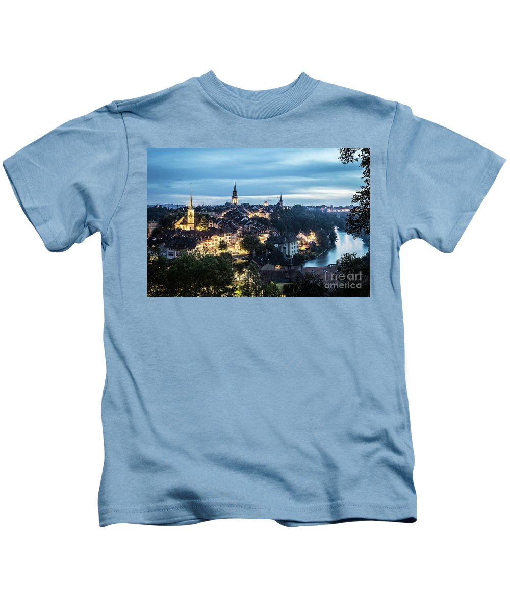 Aar Kids T-Shirt featuring the photograph Berne At Night by Didier Marti