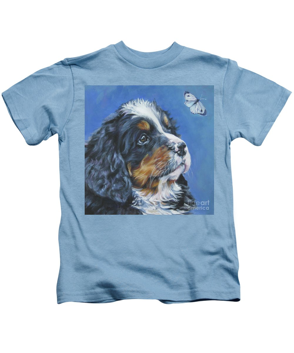 Bernese Mountain Dog Kids T-Shirt featuring the painting Bernese Mountain Dog Pup by Lee Ann Shepard