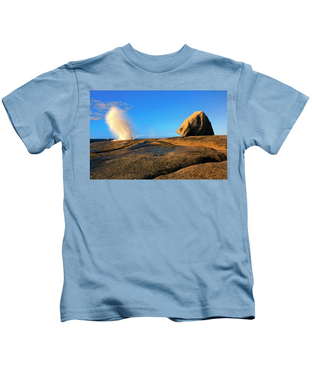 Bicheno Blowhole Kids T-Shirt featuring the photograph Bicheno Blowhole by Mike Dawson