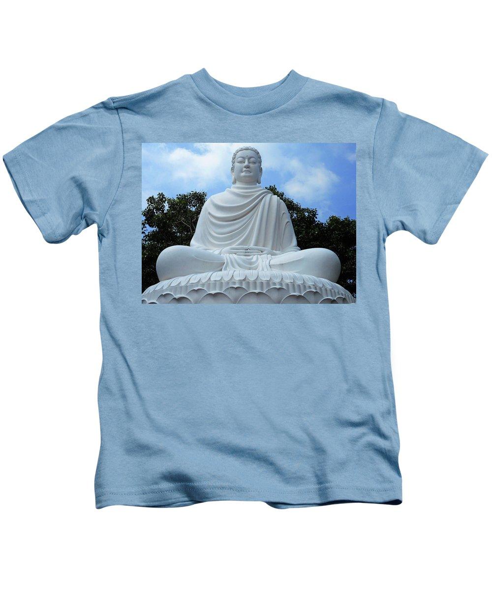 Phu My Kids T-Shirt featuring the photograph Big Buddha 4 by Ron Kandt