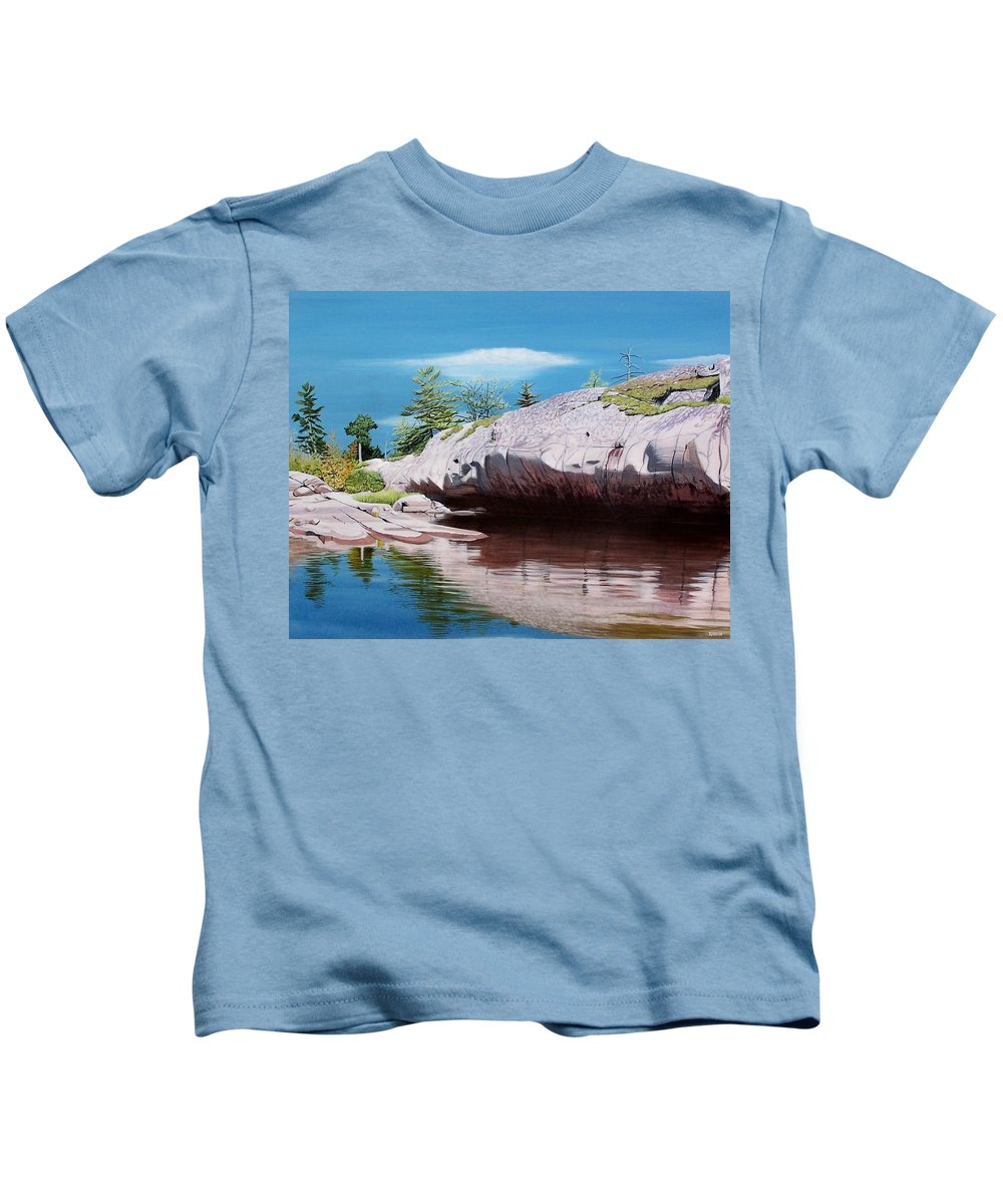 Landscape Kids T-Shirt featuring the painting Big River Rock by Kenneth M Kirsch