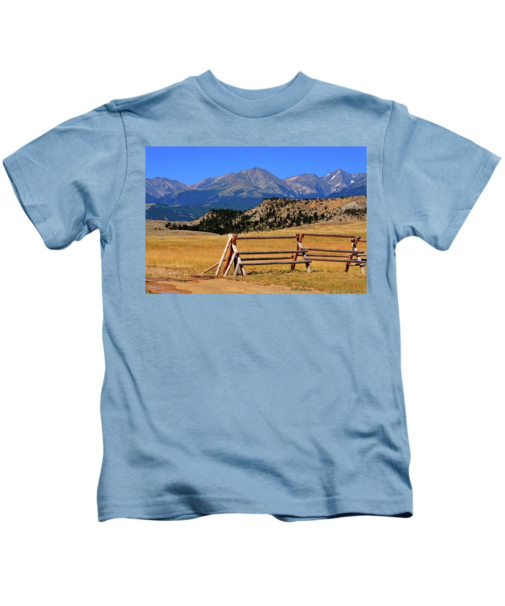 Mountains Kids T-Shirt featuring the photograph Big Timber Canyon by Marty Koch
