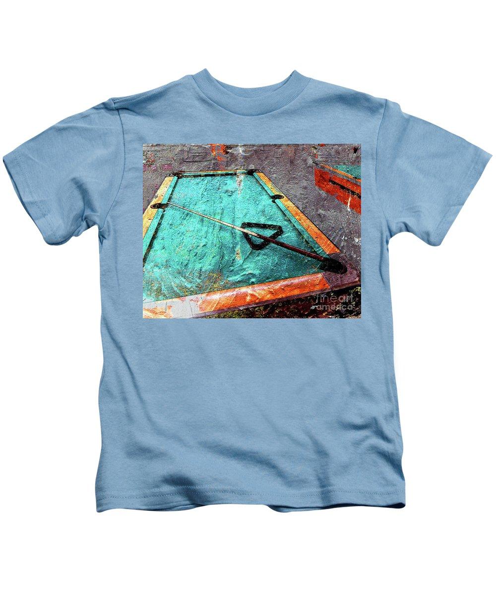 Billiards Kids T-Shirt featuring the digital art Billiards Art-pool Table by Takumi Park