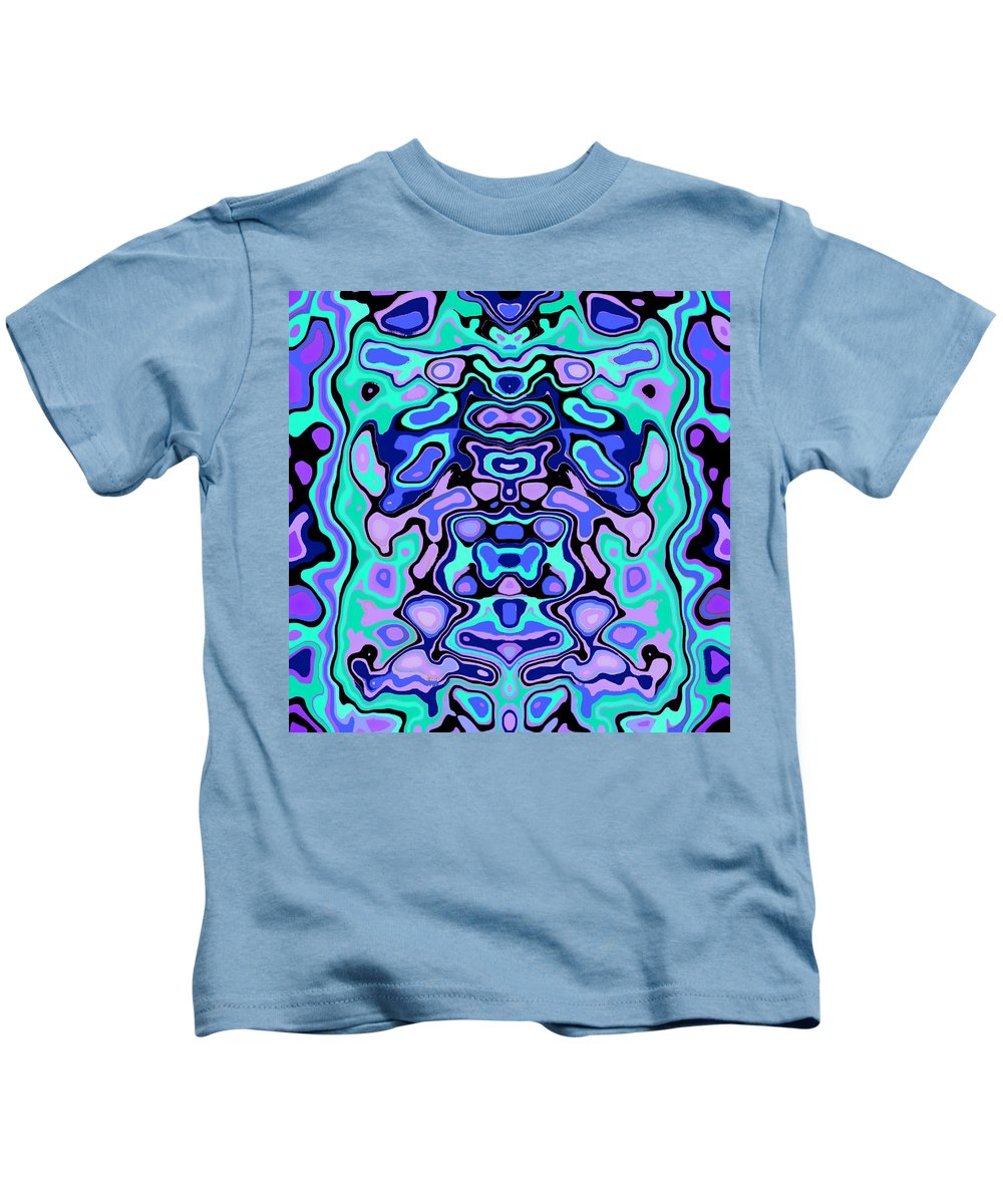 Turquoise Kids T-Shirt featuring the digital art Biomorphic #1 by Shannon Stancliff