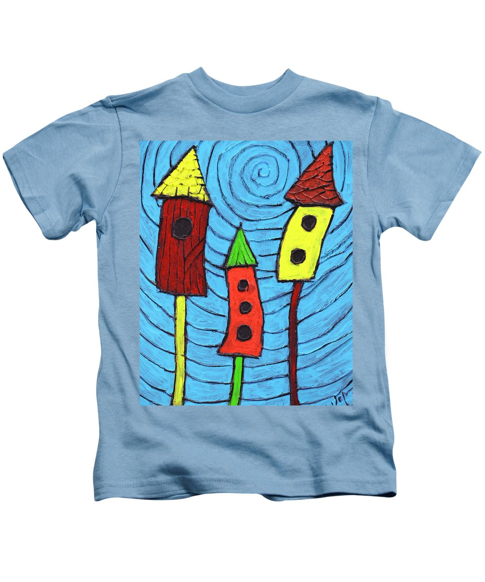 Bird Houses Kids T-Shirt featuring the painting Bird Neighbors by Wayne Potrafka