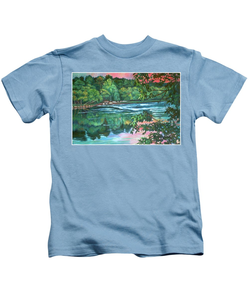 River Kids T-Shirt featuring the painting Bisset Park Rapids by Kendall Kessler