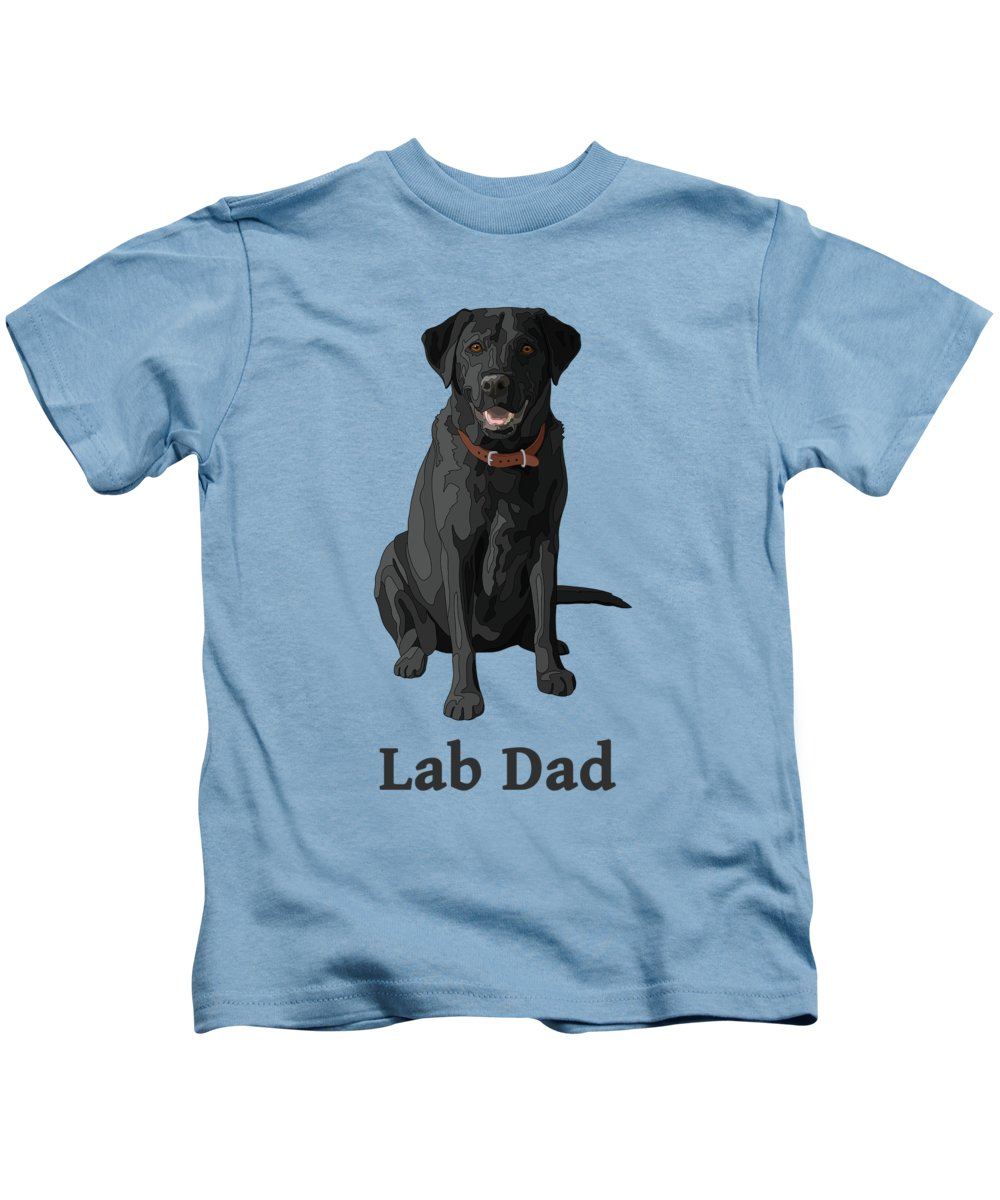 Dogs Kids T-Shirt featuring the digital art Black Labrador Retriever Lab Dad by Crista Forest