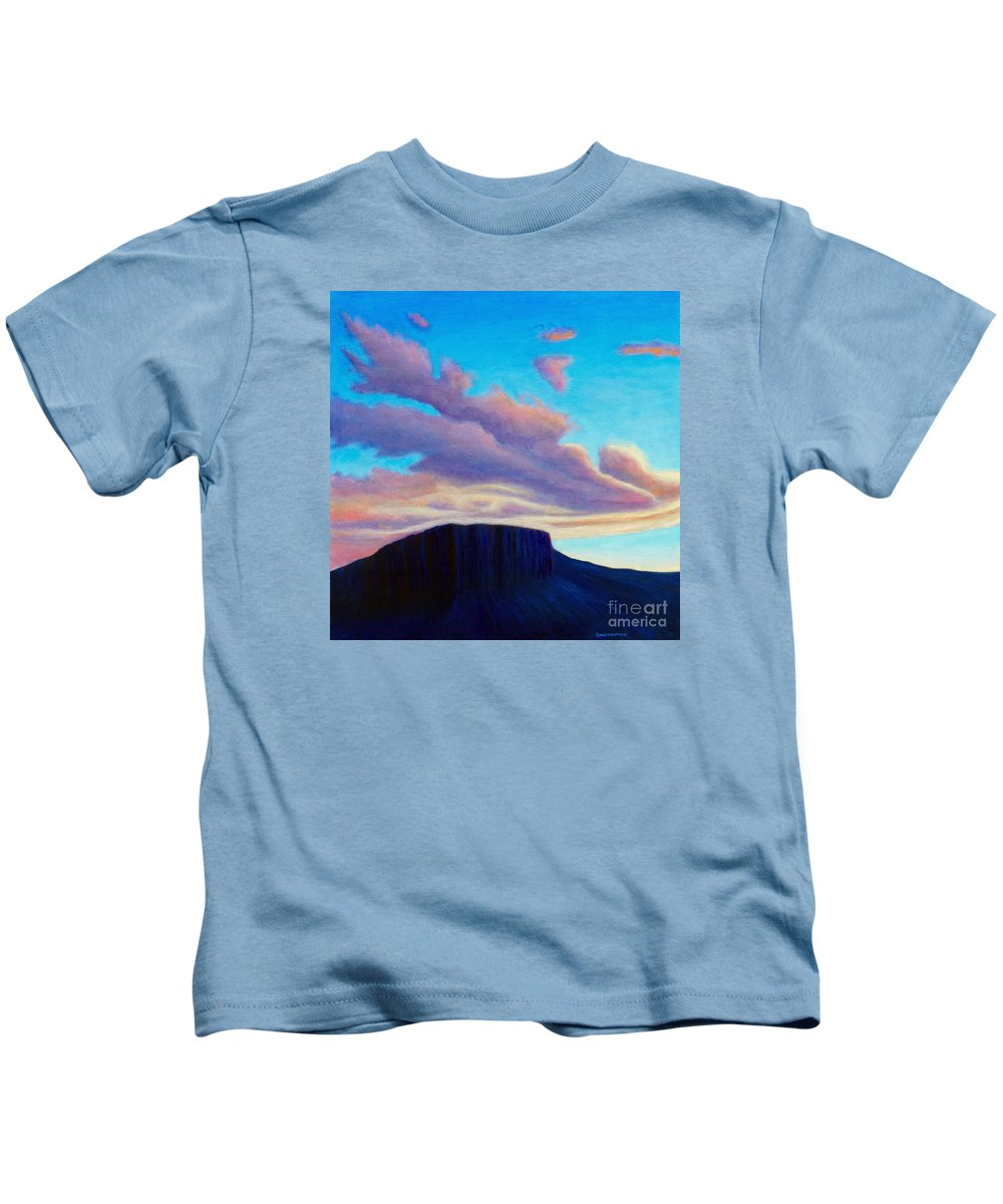 Landscape Kids T-Shirt featuring the painting Black Mesa Sunset by Brian Commerford