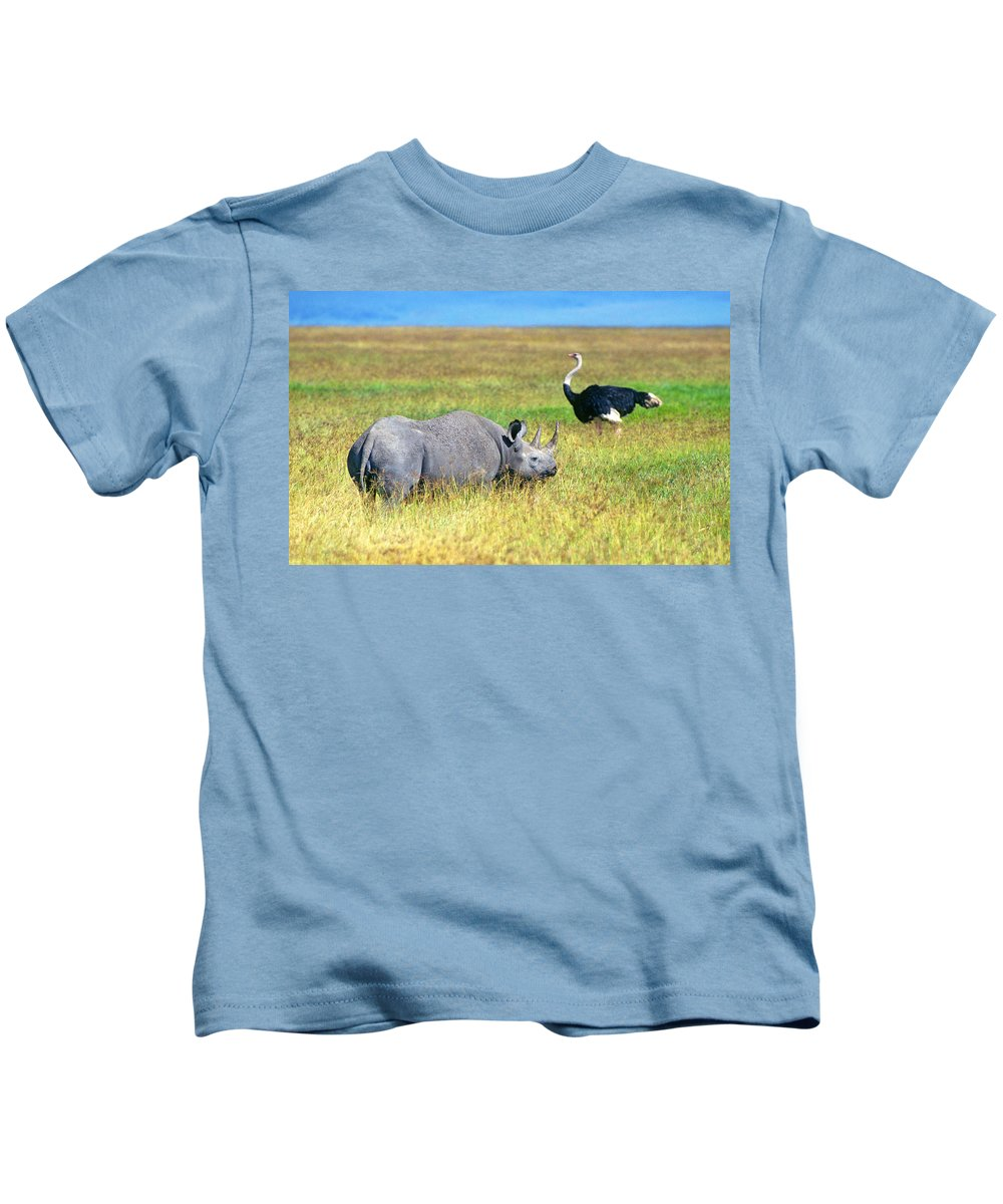 Black Kids T-Shirt featuring the photograph Black Rhinocerous by Buddy Mays