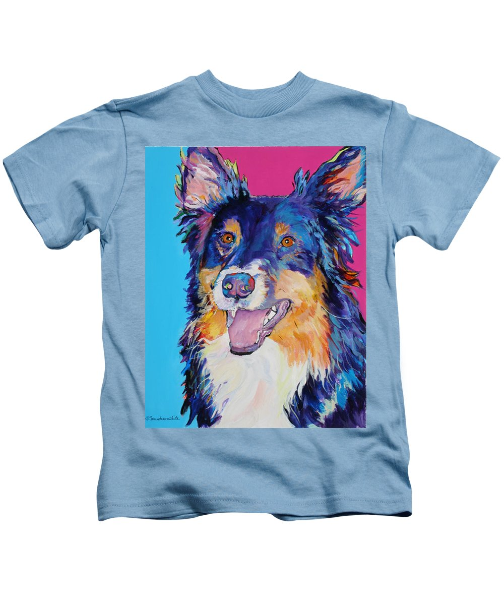Dog Kids T-Shirt featuring the painting Blackjack by Pat Saunders-White