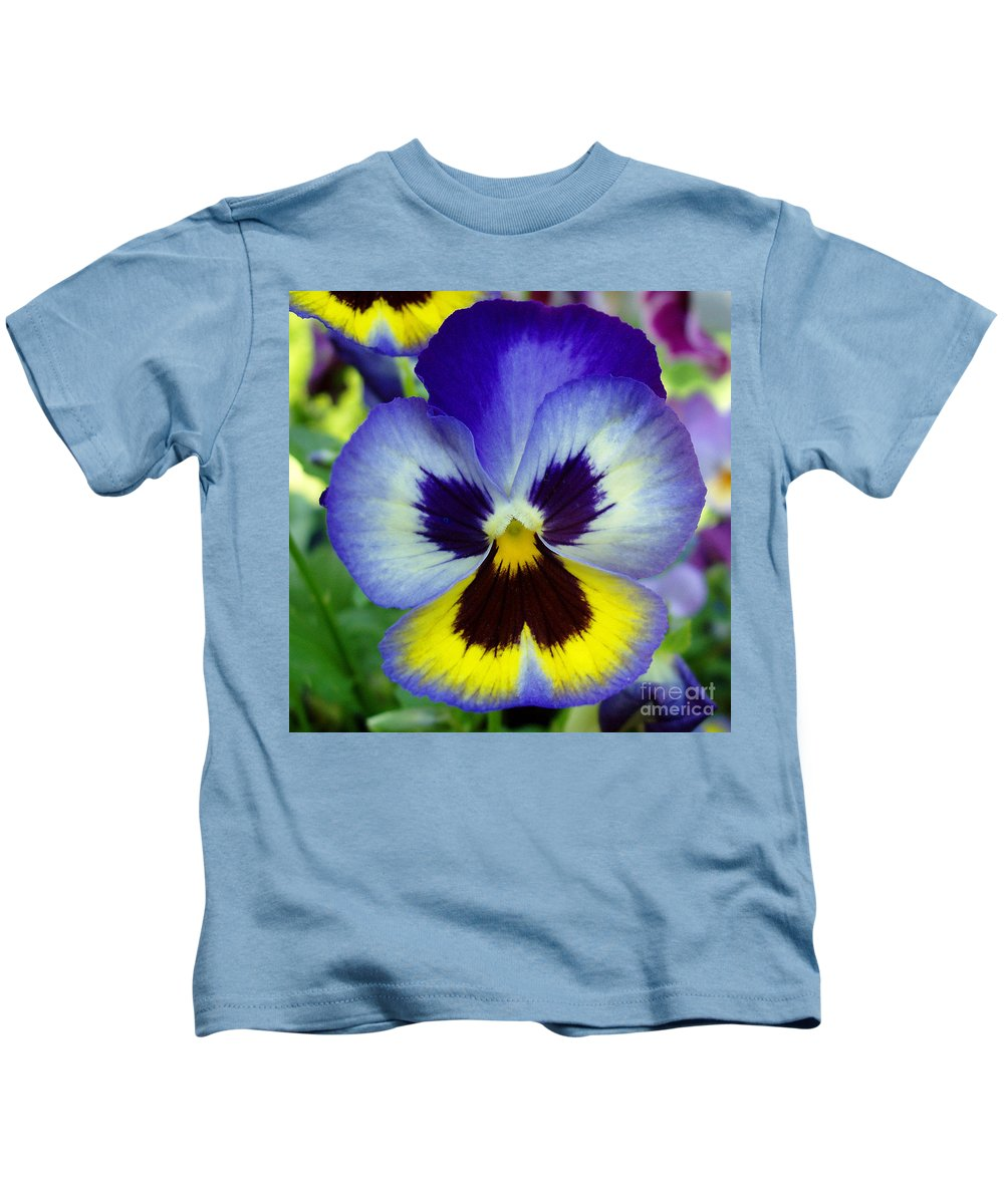 Flowers Kids T-Shirt featuring the photograph Blue And Yellow Pansy by Nancy Mueller