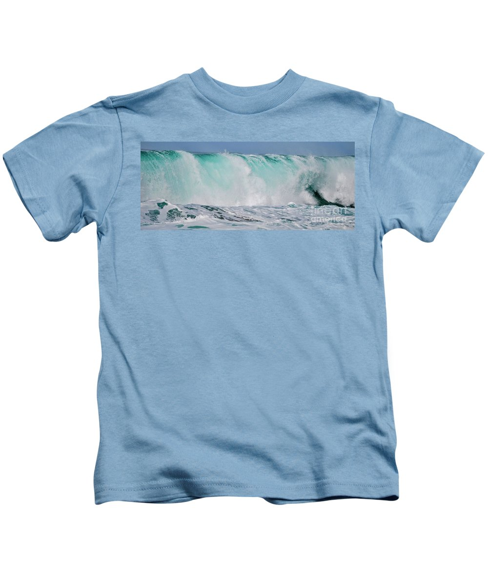 Wave Kids T-Shirt featuring the photograph Blue Cascade  Hawaiian Wave by Debra Banks