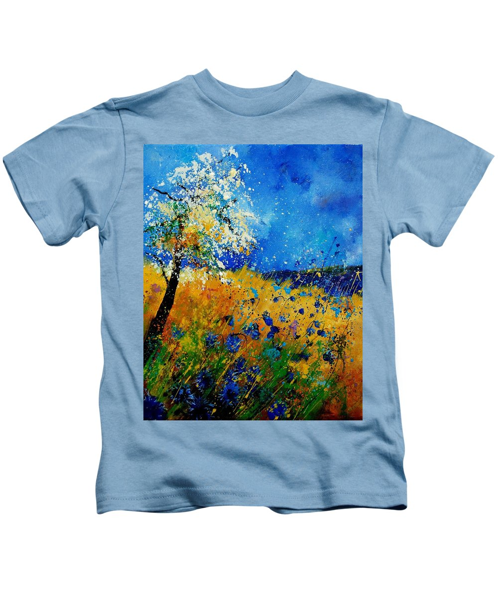 Poppies Kids T-Shirt featuring the painting Blue Cornflowers 450108 by Pol Ledent