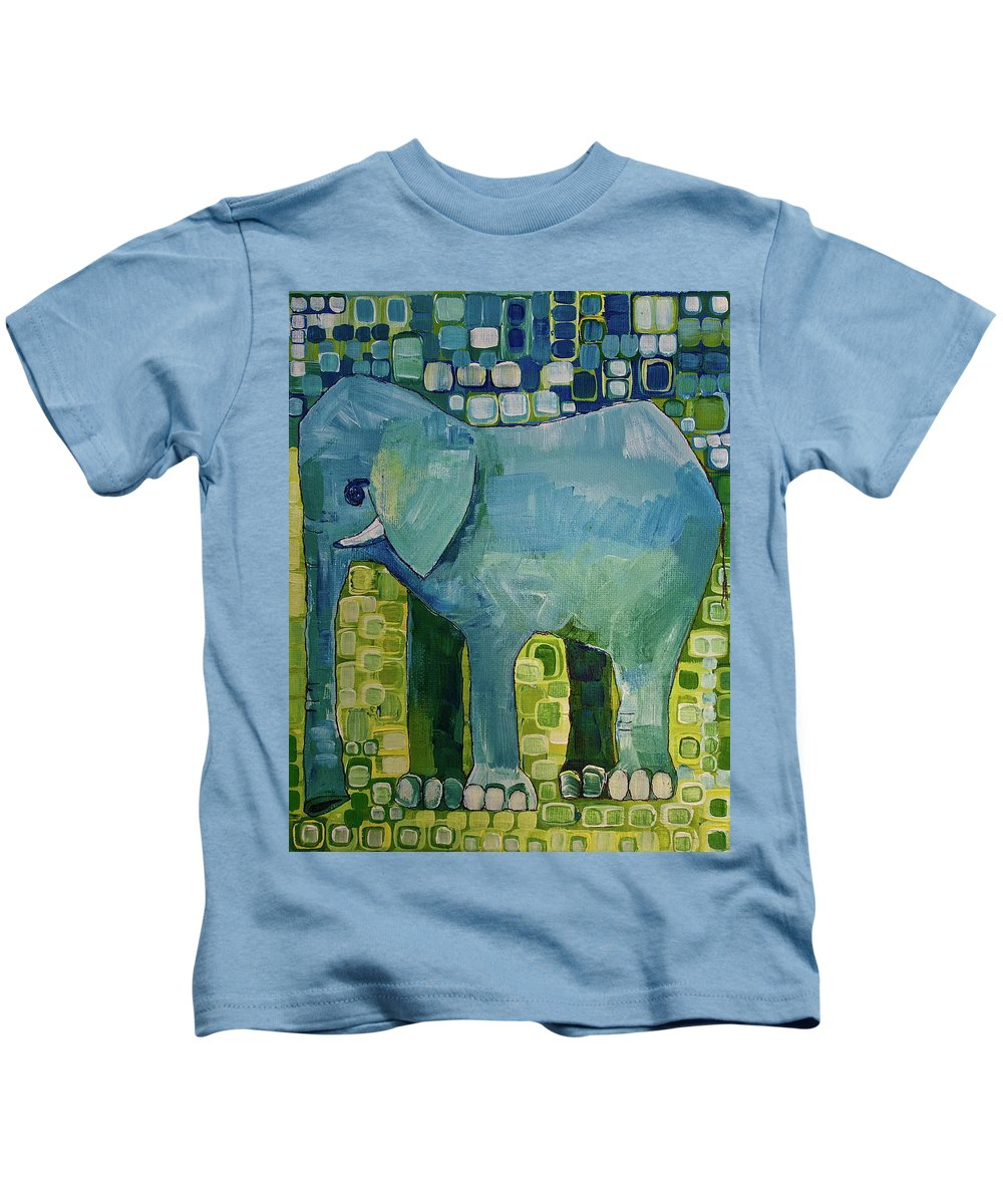 Elephant Kids T-Shirt featuring the painting Blue Elephant by Donna Howard