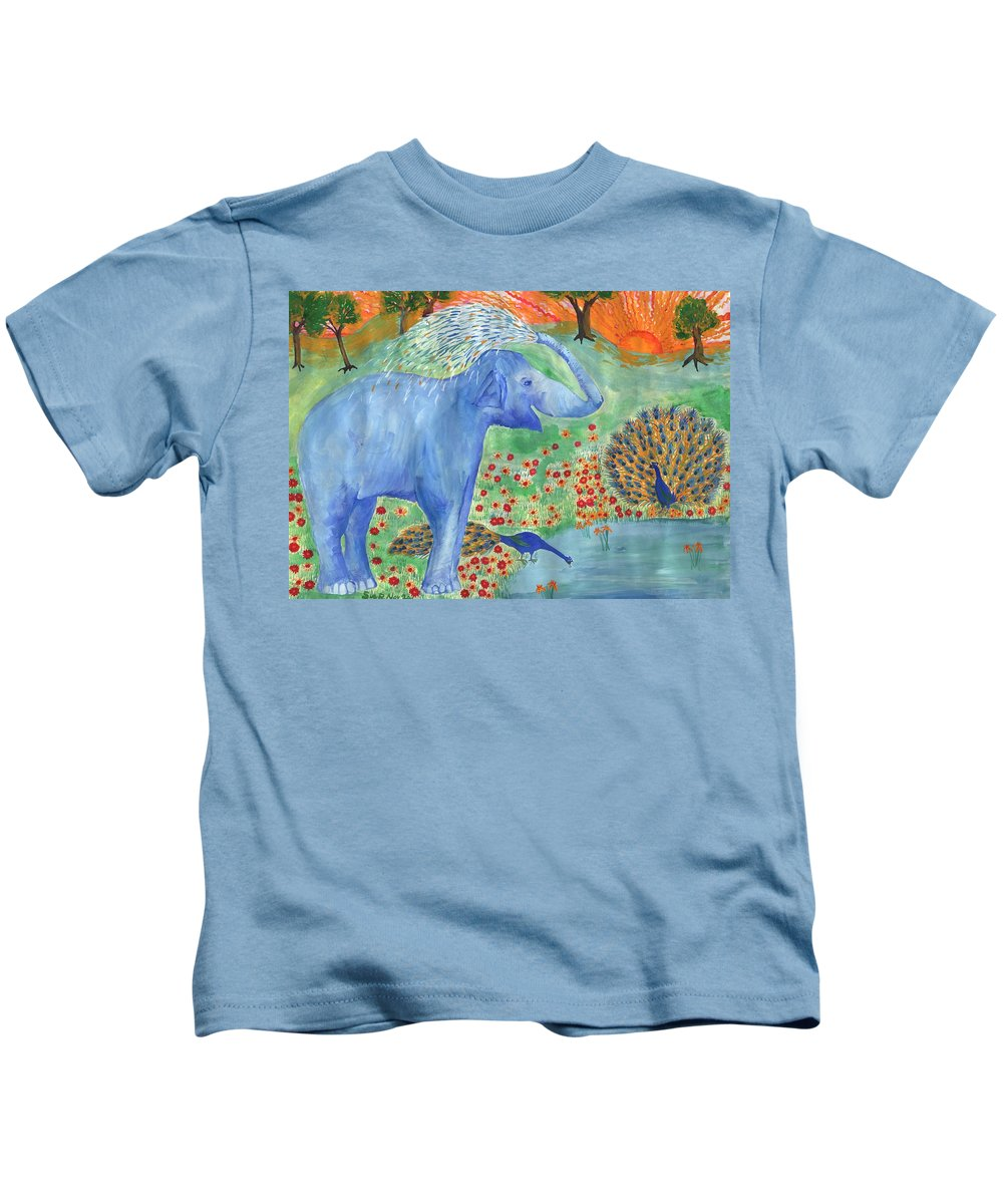 Elephant Kids T-Shirt featuring the painting Blue Elephant Squirting Water by Sushila Burgess