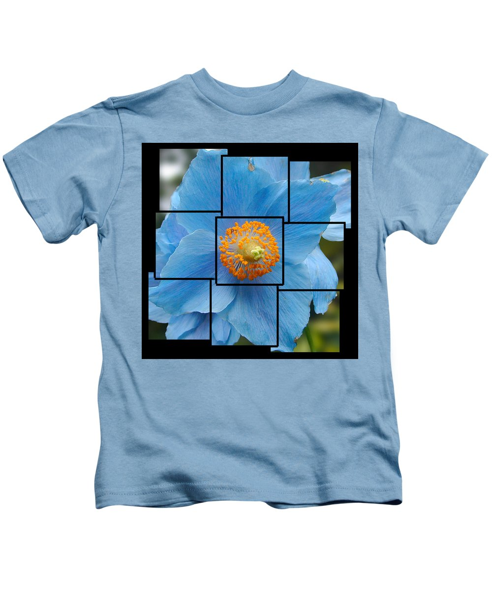 Blue Kids T-Shirt featuring the sculpture Blue Flower Photo Sculpture Butchart Gardens Victoria Bc Canada by Michael Bessler