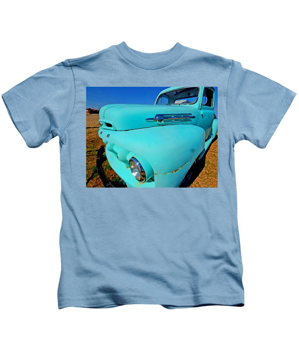 Truck Kids T-Shirt featuring the painting Blue Ford Pickup Truck by Michael Thomas