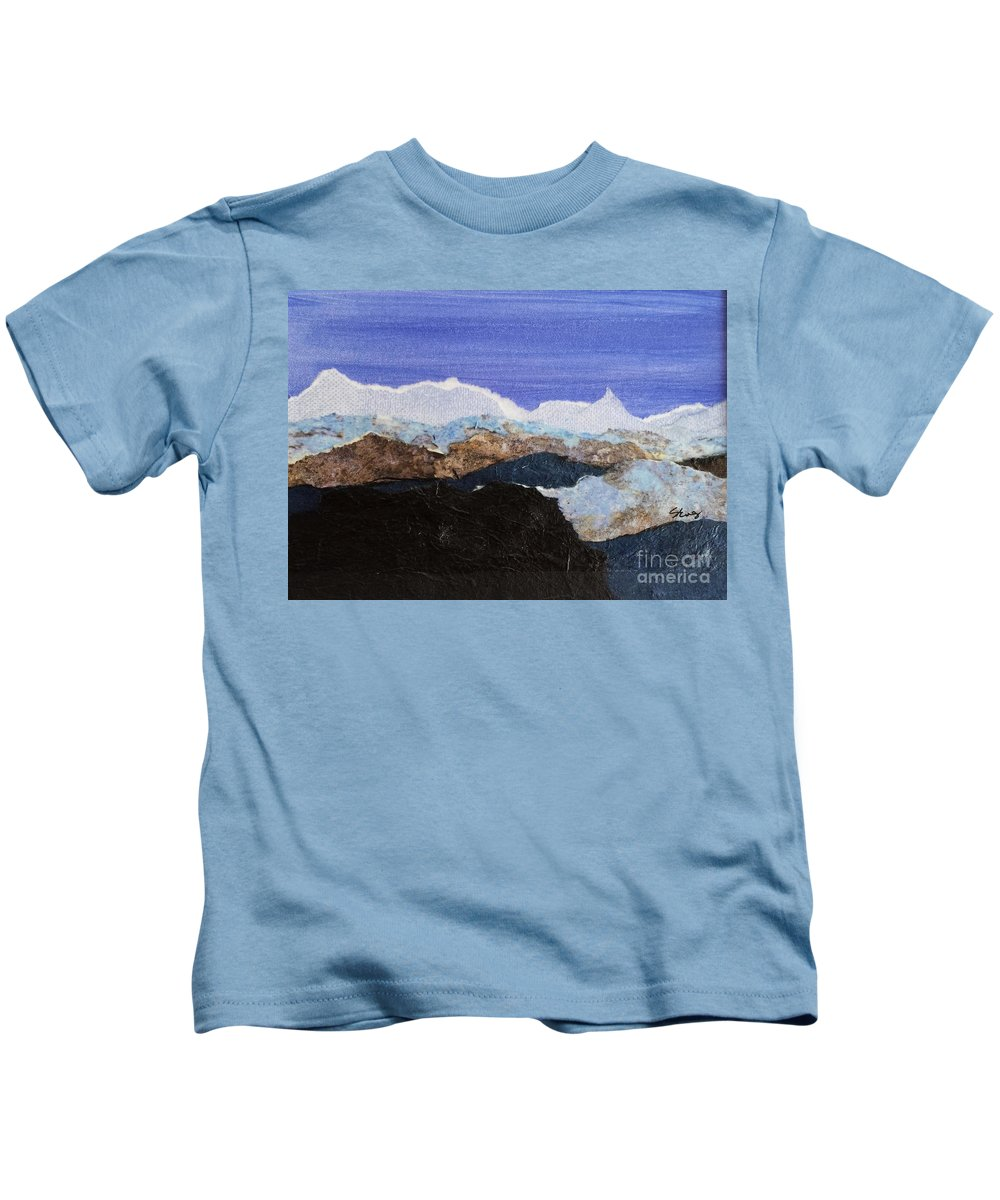 Mountains Kids T-Shirt featuring the mixed media Blue Mountains II by Sharon Eng