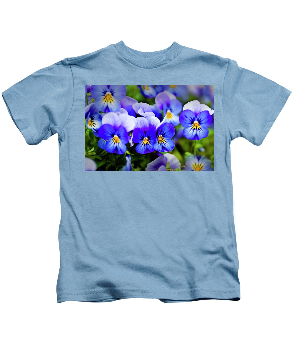 Flower Kids T-Shirt featuring the photograph Blue Pansies by Tamyra Ayles