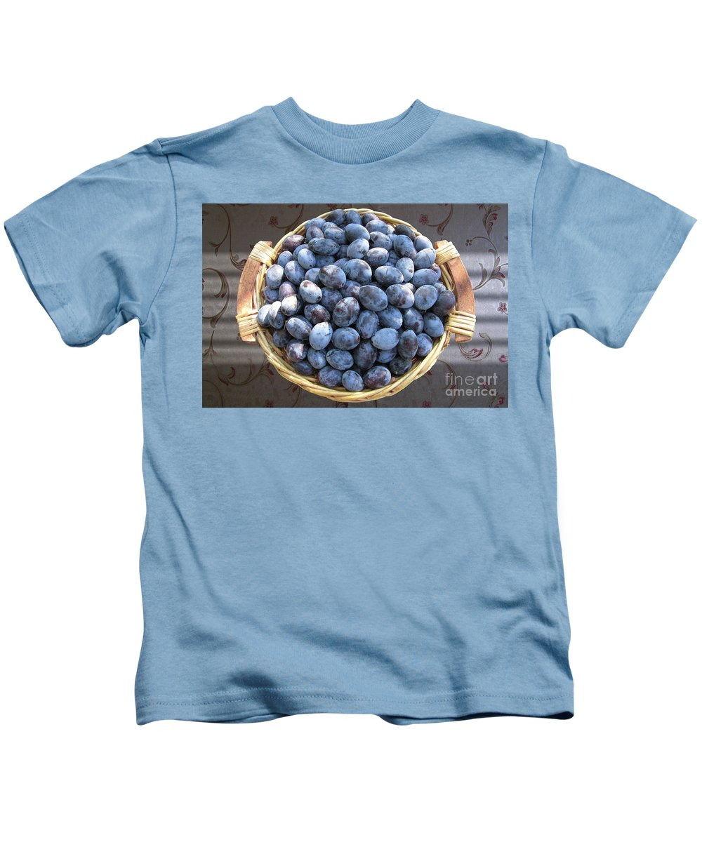 Plum Kids T-Shirt featuring the photograph Blue Plums by Mira Ostojic