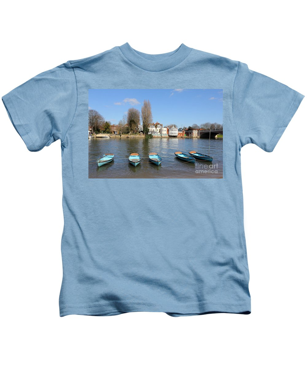 Blue Rowing Boats On The Thames At Hampton Court London Kids T-Shirt featuring the photograph Blue Rowing Boats On The Thames At Hampton Court London by Julia Gavin