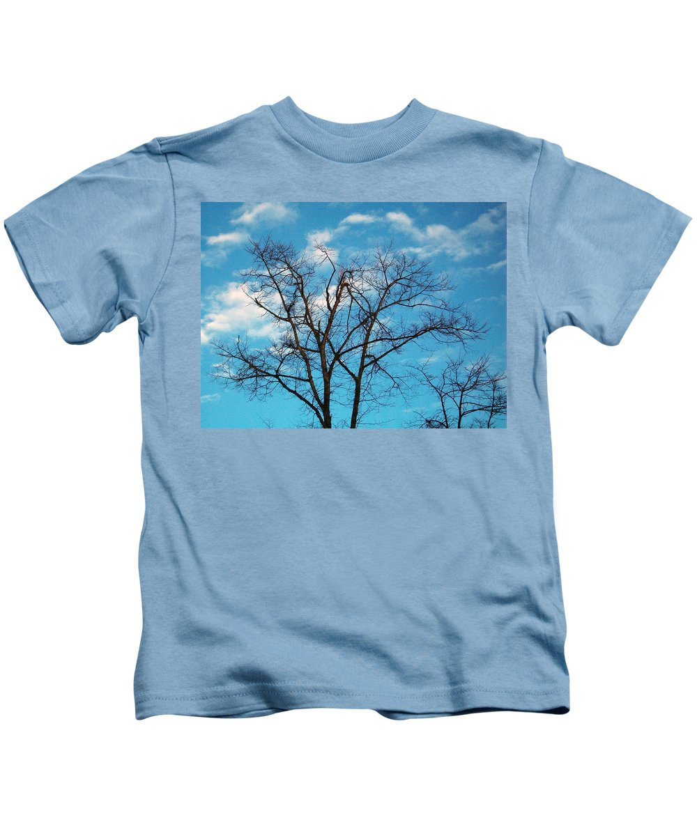 Tree Kids T-Shirt featuring the photograph Blue Sky by Munir Alawi