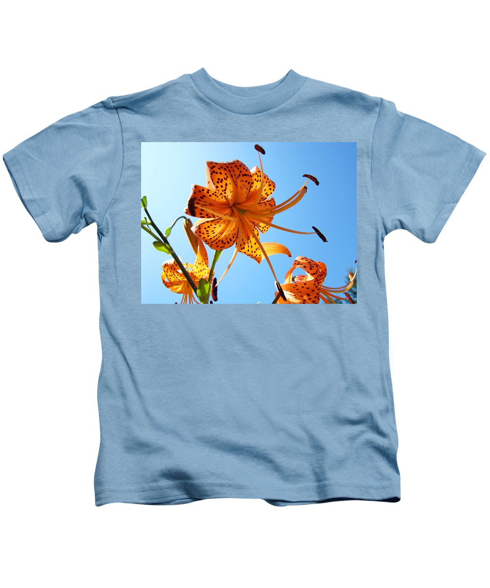Lilies Kids T-Shirt featuring the photograph Blue Sky Tiger Lily Floral Garden Art Prints Baslee Troutman by Baslee Troutman