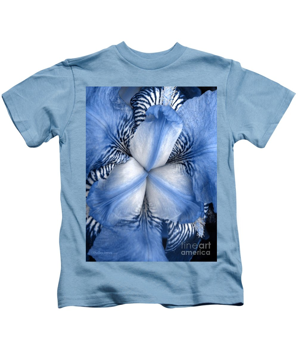Jphotography Kids T-Shirt featuring the photograph Blue Tiger Iris by Shelley Jones