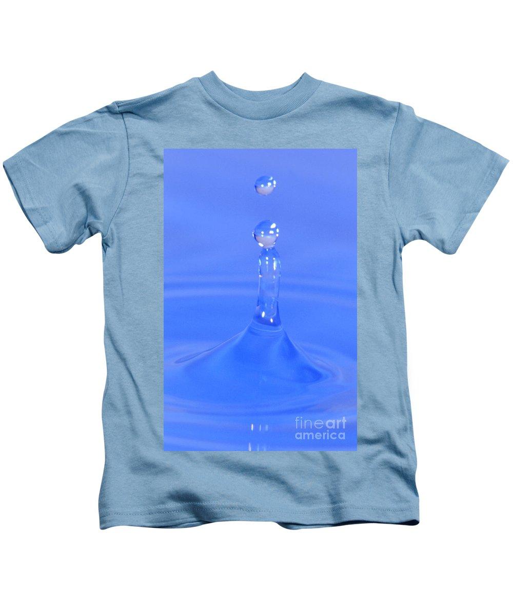 Water Kids T-Shirt featuring the photograph Blue Waterdrop by Heiko Koehrer-Wagner