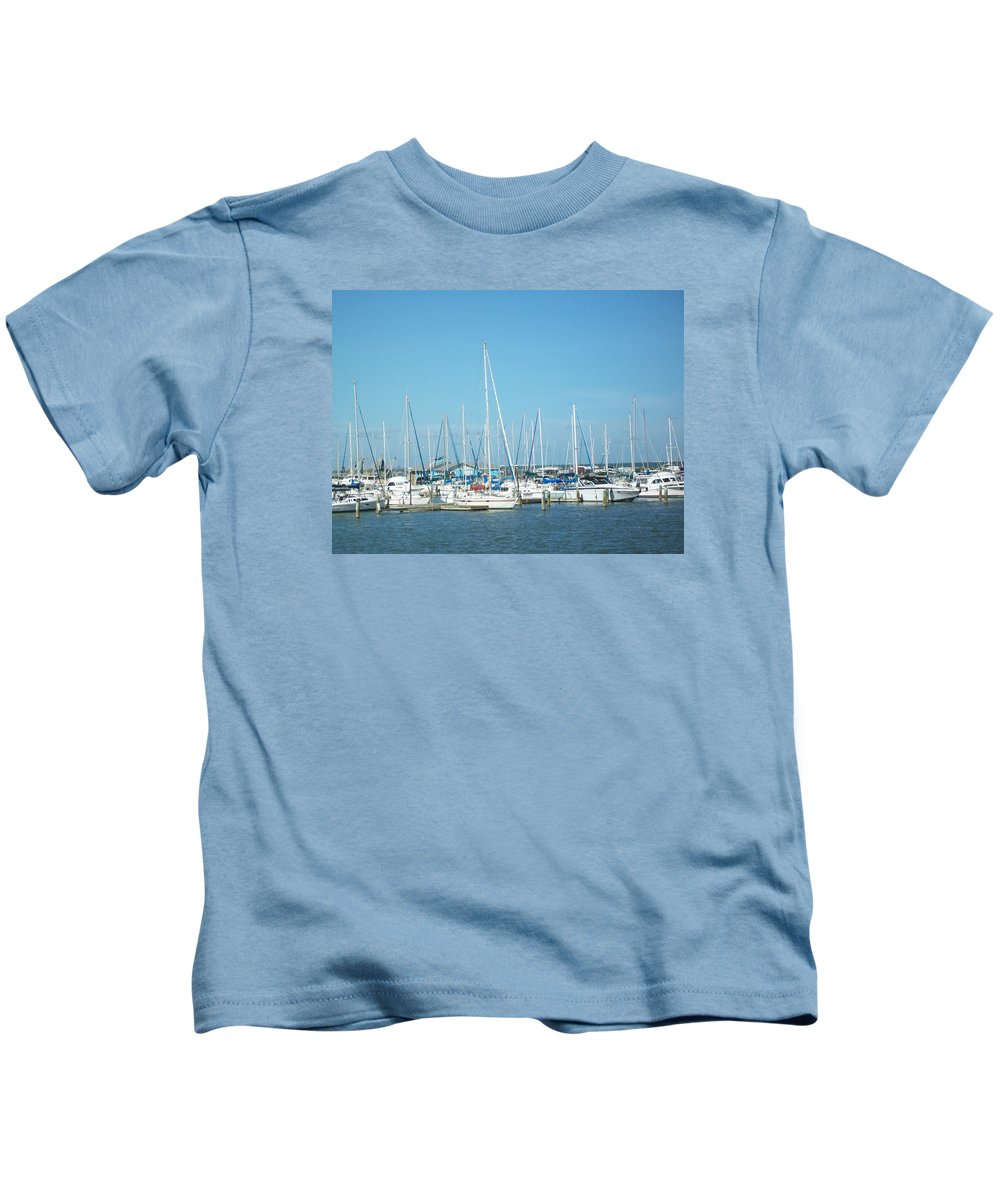 Marina Kids T-Shirt featuring the photograph Blue White And Blue by Laurette Escobar