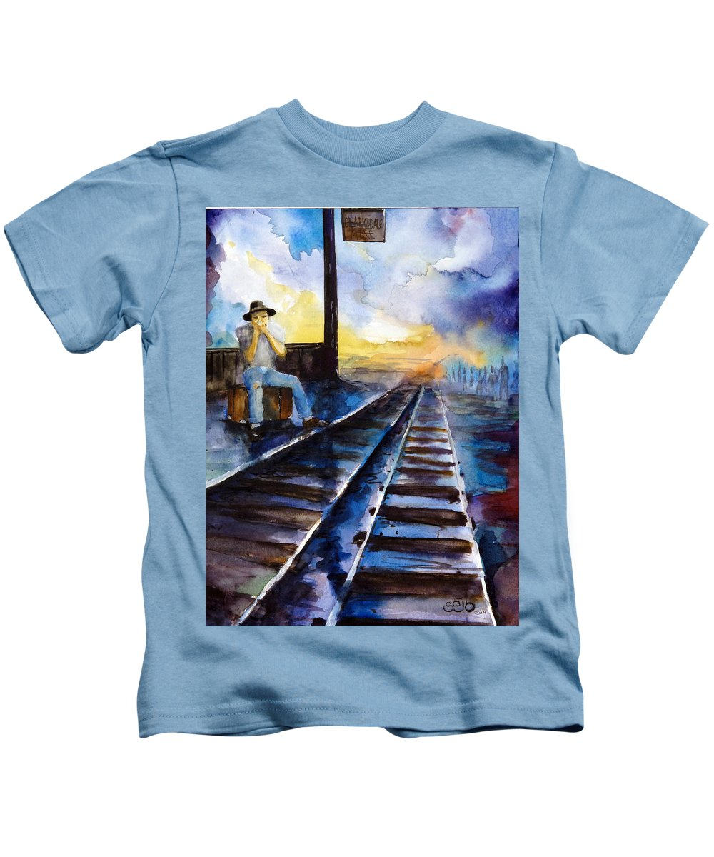 Blues Art Kids T-Shirt featuring the painting Blues On The Other Side by Don Seib