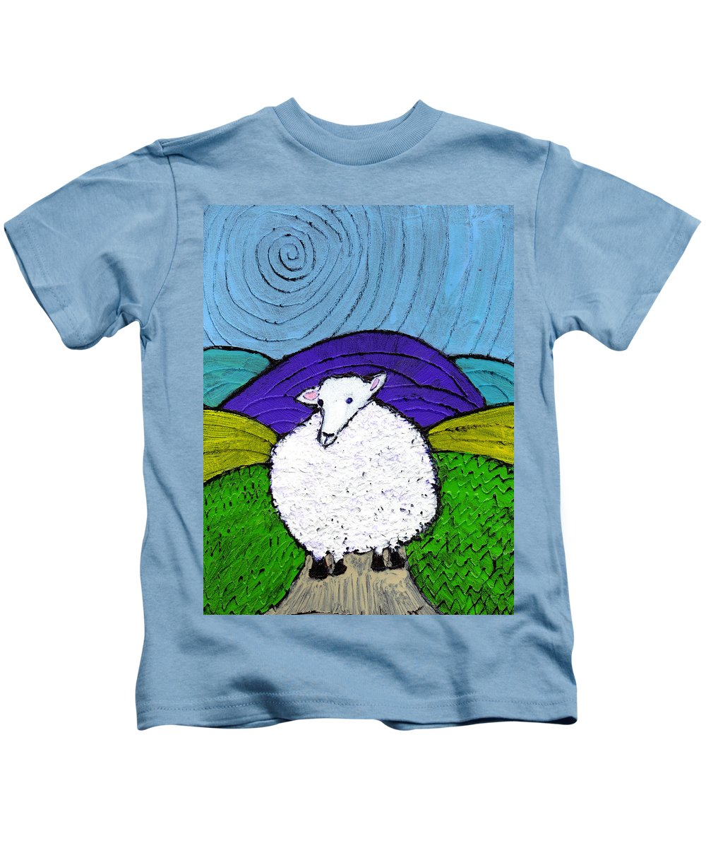 Sheep Kids T-Shirt featuring the painting Bo Peeps Lost Sheep by Wayne Potrafka