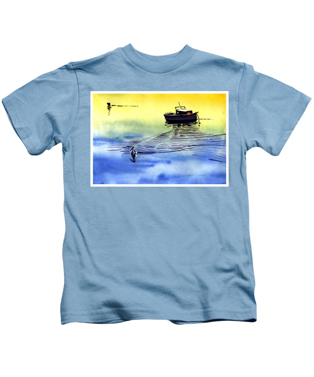 Watercolor Kids T-Shirt featuring the painting Boat And The Seagull by Anil Nene