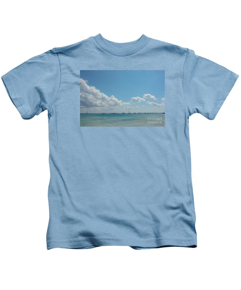 Cheryl Baxter Photography Kids T-Shirt featuring the photograph Boats In Shades Of Blue by Cheryl Baxter