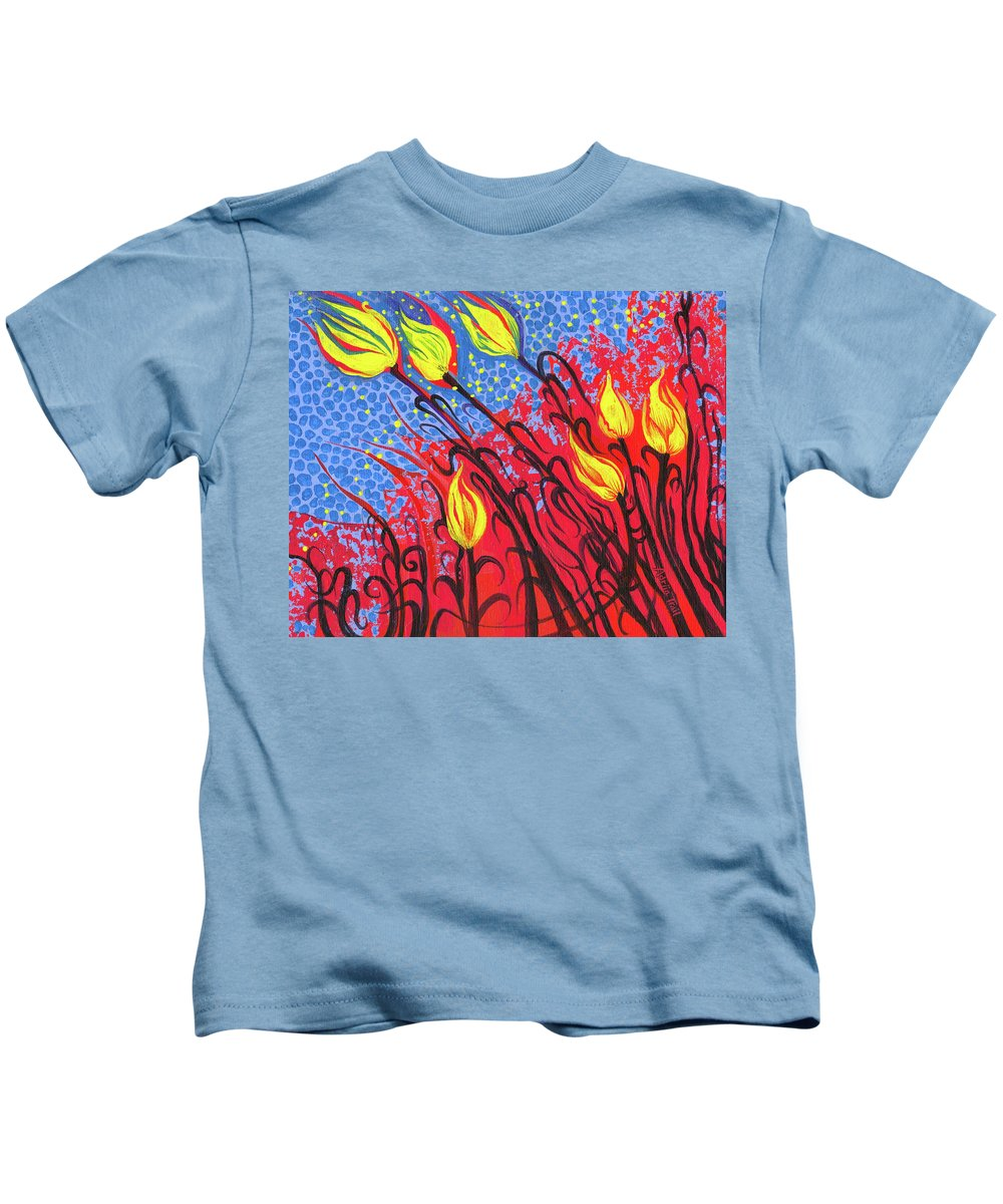 Adria Trail Kids T-Shirt featuring the painting Bold Tulips by Adria Trail