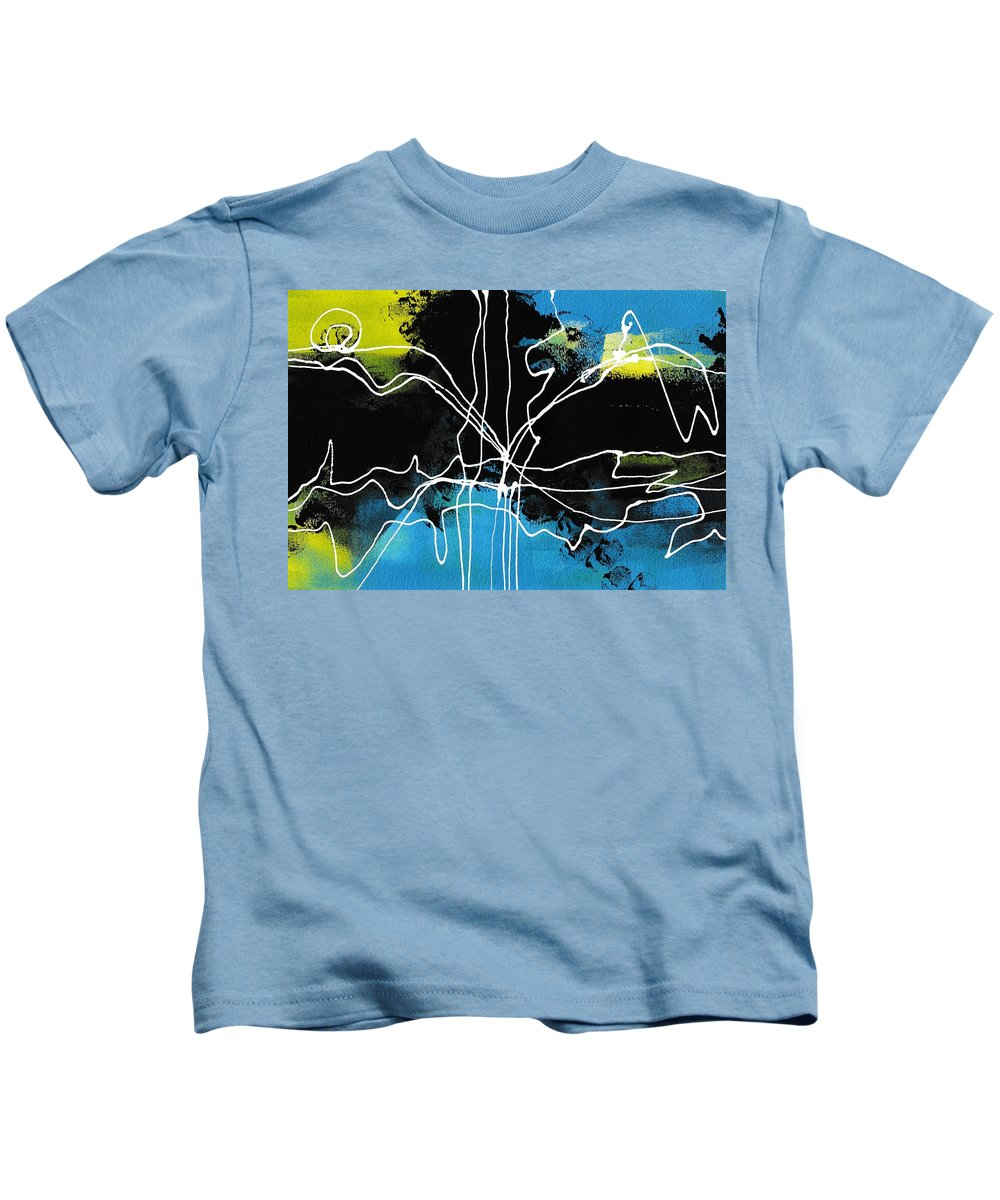 Art Kids T-Shirt featuring the painting Bold White Lines Three by Louise Adams