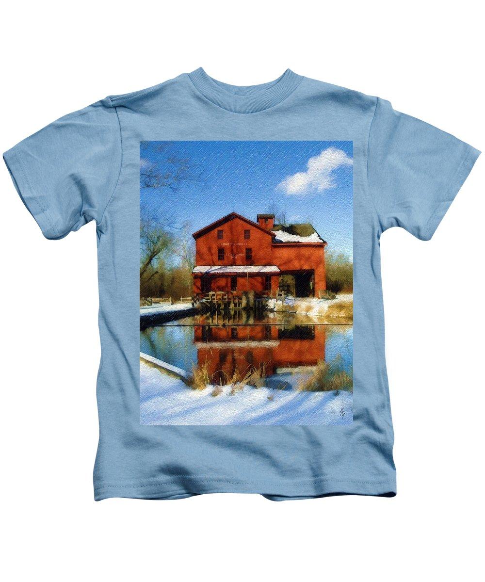 Bonneyville Mill Kids T-Shirt featuring the photograph Bonneyville In Winter by Sandy MacGowan