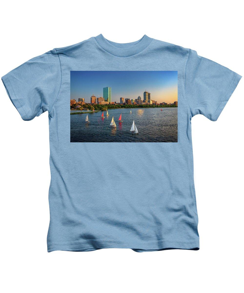 Longfellow Bridge Kids T-Shirt featuring the photograph Boston Skyline Summer 2018 by Rick Berk