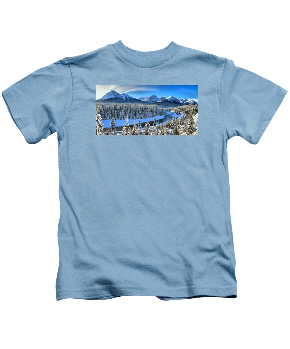 Kids T-Shirt featuring the photograph Bow River Valley View by Adam Jewell