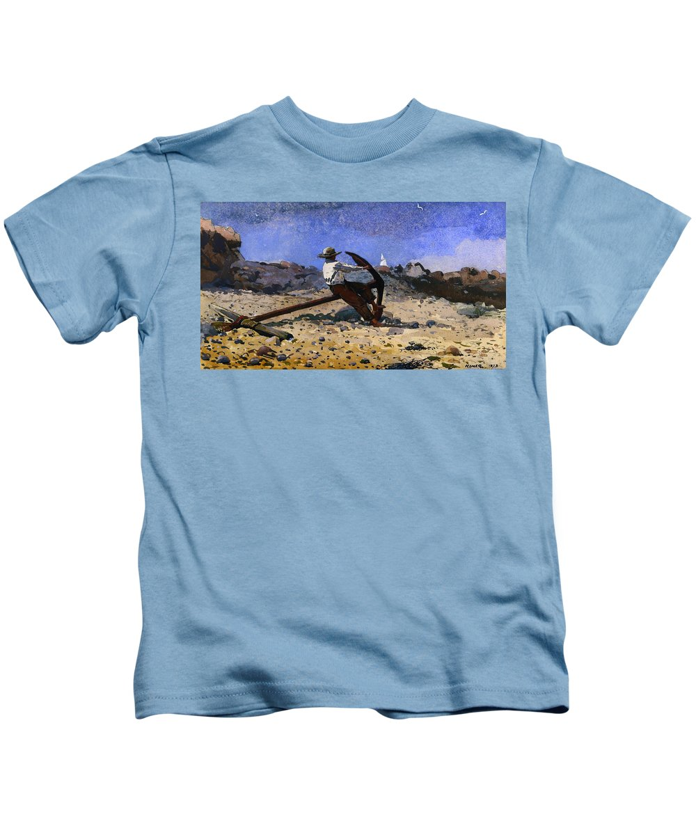 Painting Kids T-Shirt featuring the painting Boy With Anchor by Mountain Dreams
