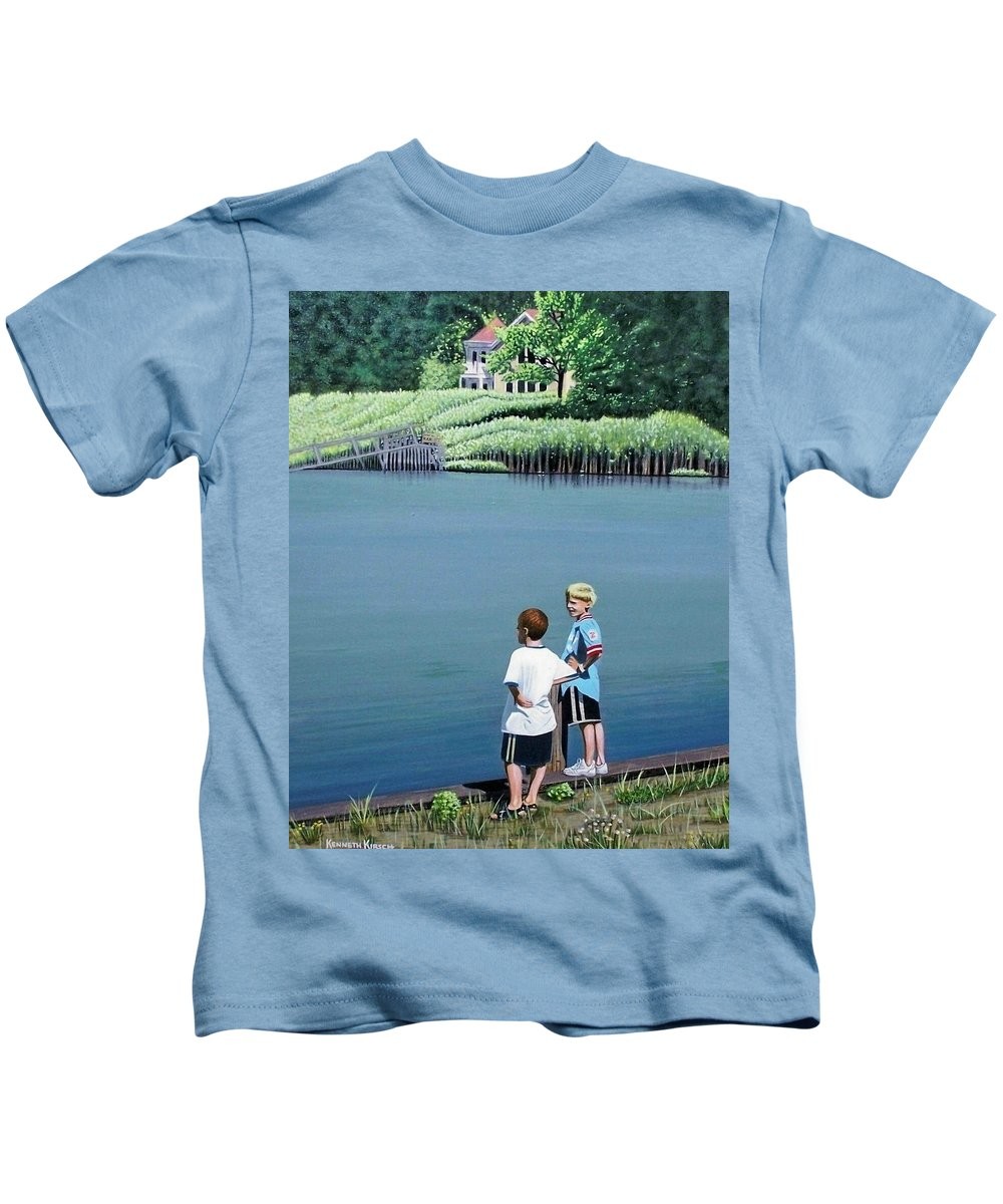 Landscape Kids T-Shirt featuring the painting Boys Of Summer by Kenneth M Kirsch