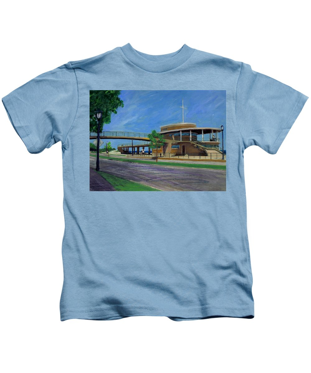 Miexed Media Kids T-Shirt featuring the mixed media Bradford Beach House by Anita Burgermeister