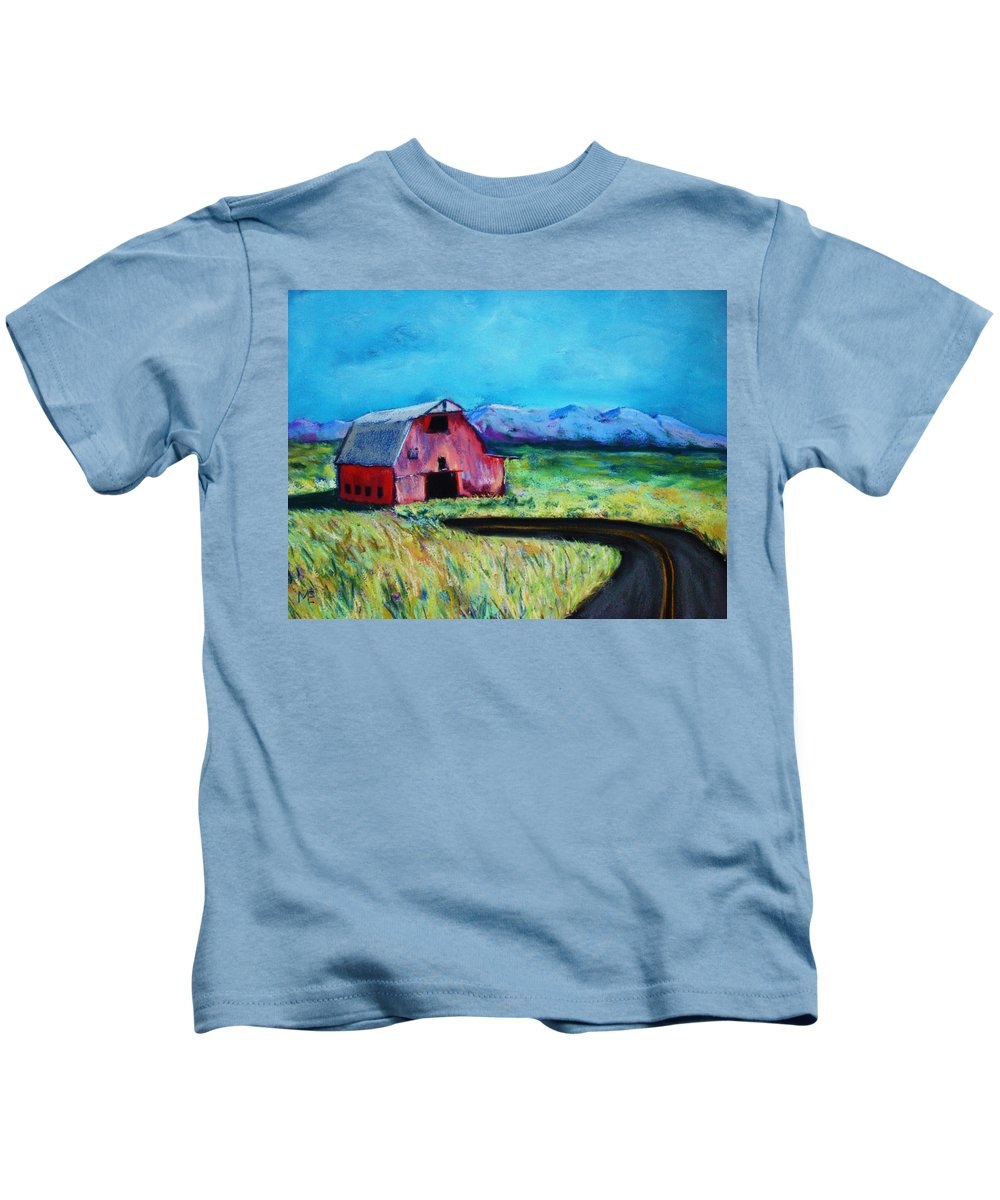 Barn Kids T-Shirt featuring the pastel Bradley's Barn by Melinda Etzold