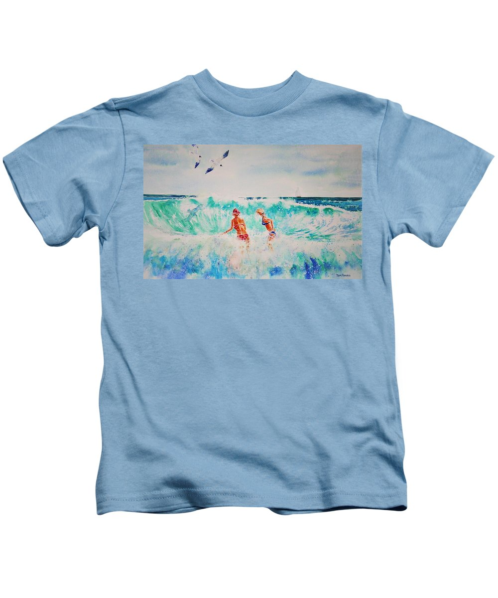 Surf Kids T-Shirt featuring the painting Brooke And Carey In The Shore Break by Tom Harris