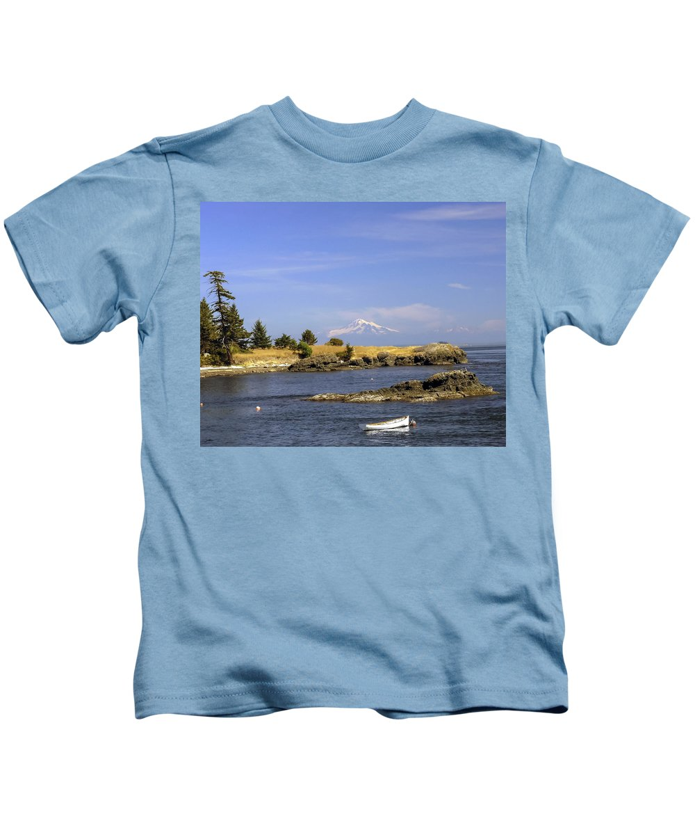 Row Boat Kids T-Shirt featuring the photograph Brooks Point With Mt. Baker by Derek Holzapfel