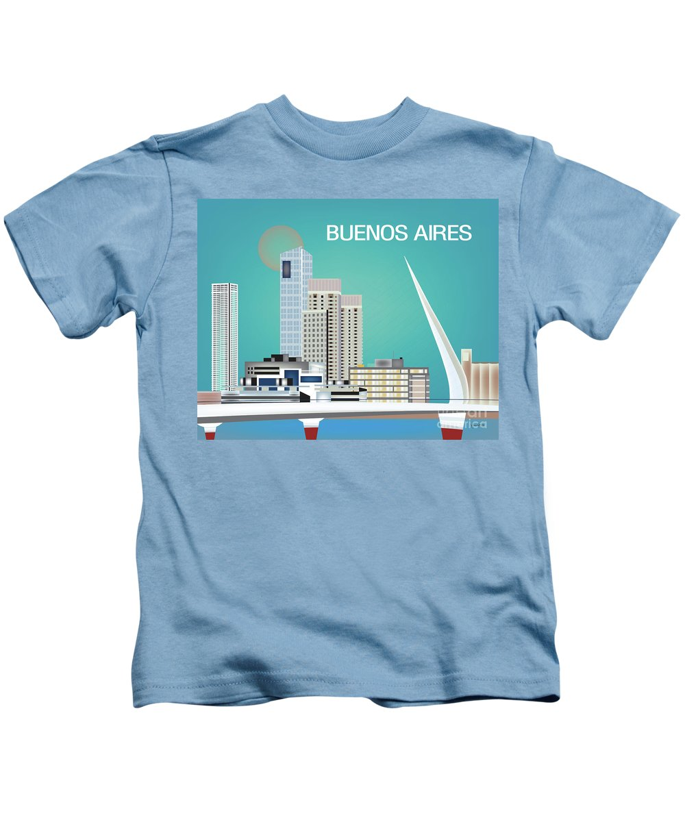 Buenos Aires Kids T-Shirt featuring the digital art Buenos Aires Argentina Horizontal Skyline - Blue by Karen Young