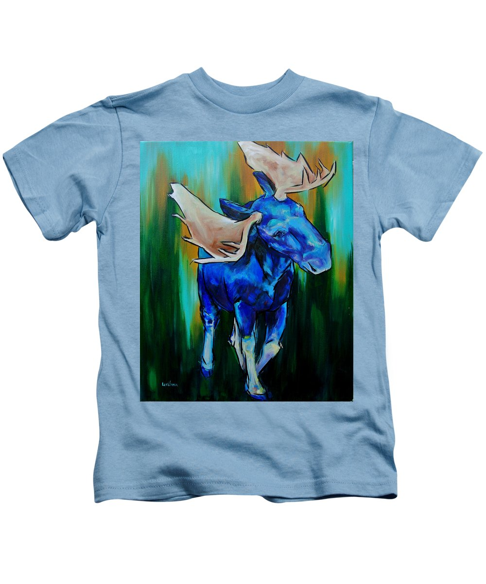 Moose Kids T-Shirt featuring the painting Bull Moose by Lee Walker