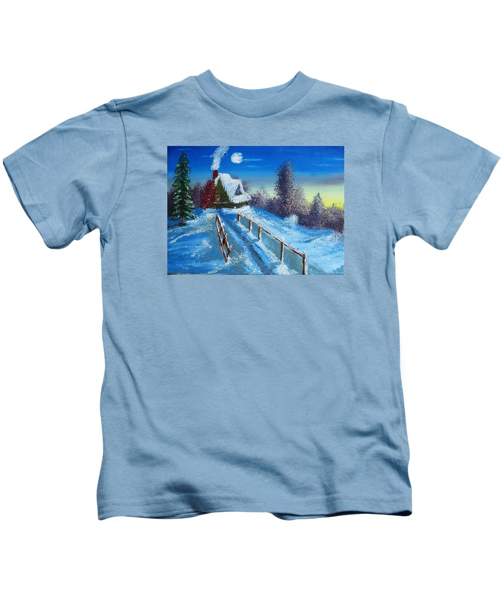 Cabin Moon Sun Snow Fence Tree Trees Dawn Kids T-Shirt featuring the painting Cabin Retreat by Lawrence Booth